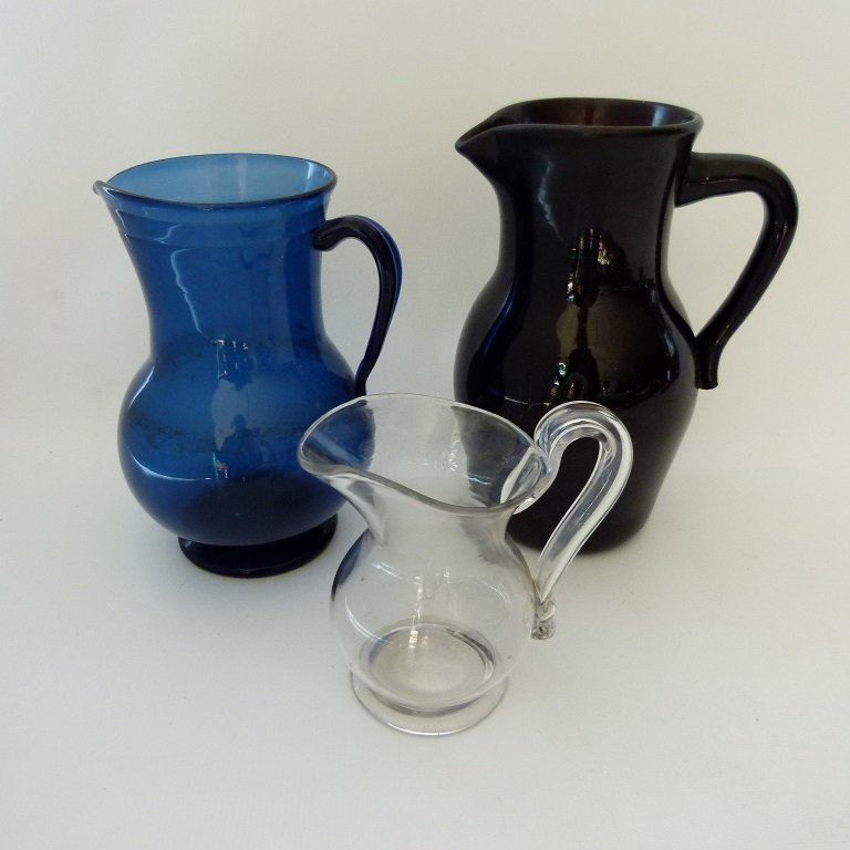 LOT (3) EARLY NEW JERSEY FREE BLOWN PITCHERS, 19TH C.
