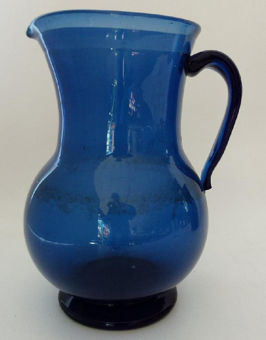 LOT (3) EARLY NEW JERSEY FREE BLOWN PITCHERS, 19TH C. - 2