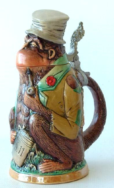 1/4 LITRE GERMAN CHARACTER STEIN MONKEY, 19/20TH C.