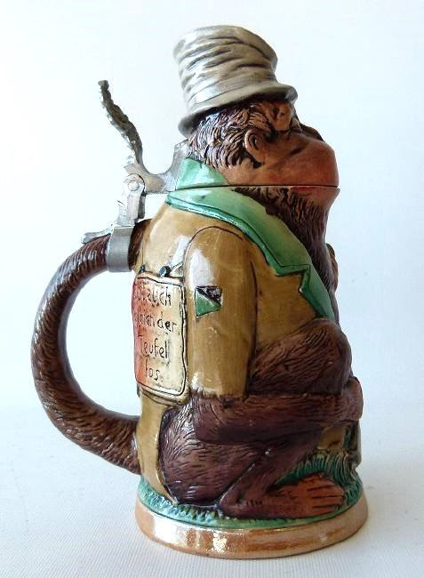 1/4 LITRE GERMAN CHARACTER STEIN MONKEY, 19/20TH C. - 3