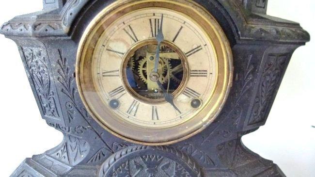 VICTORIAN CAST IRON FIGURAL SHELF CLOCK W/ SIGNED - 3