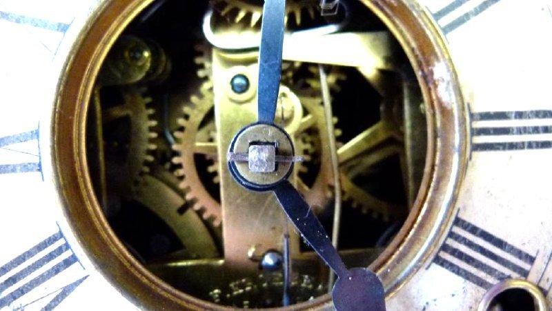 VICTORIAN CAST IRON FIGURAL SHELF CLOCK W/ SIGNED - 7