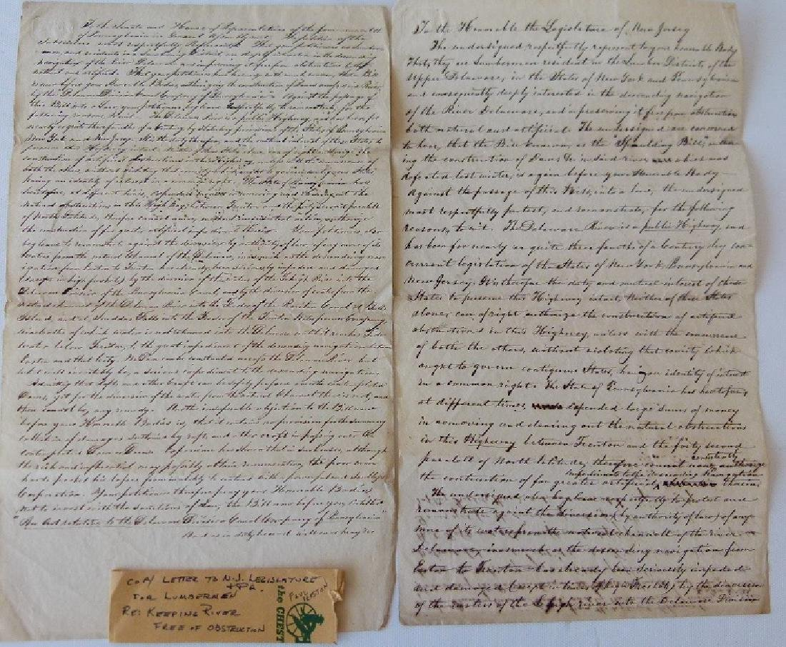 LOT (2) MANUSCRIPT LETTERS INCL. NJ LEGISLATURE, HOUSE