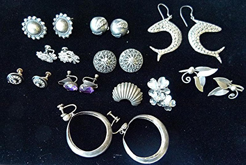 LOT ASSORTED MEXICAN STERLING EARRINGS, C. 1940/50