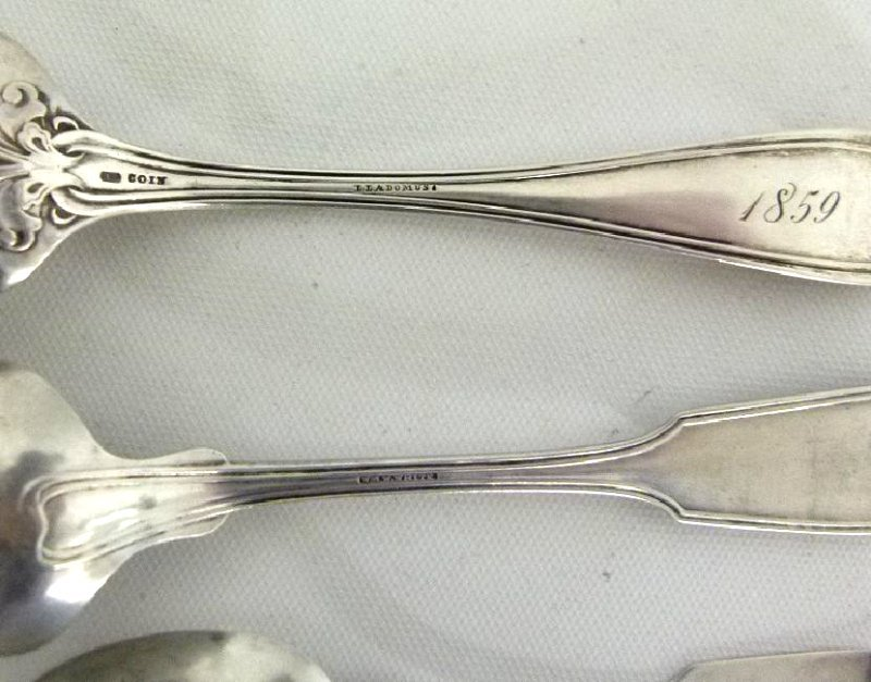 LOT ASSORT. COIN SILVER SPOONS WILLIAM H. WHITE C. 1859 - 6