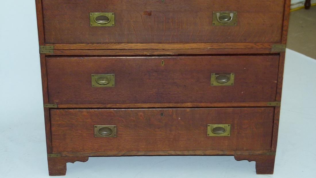 ENGLISH REGENCY OAK CAMPAIGN 2 PART CHEST OF DRAWERS - 10