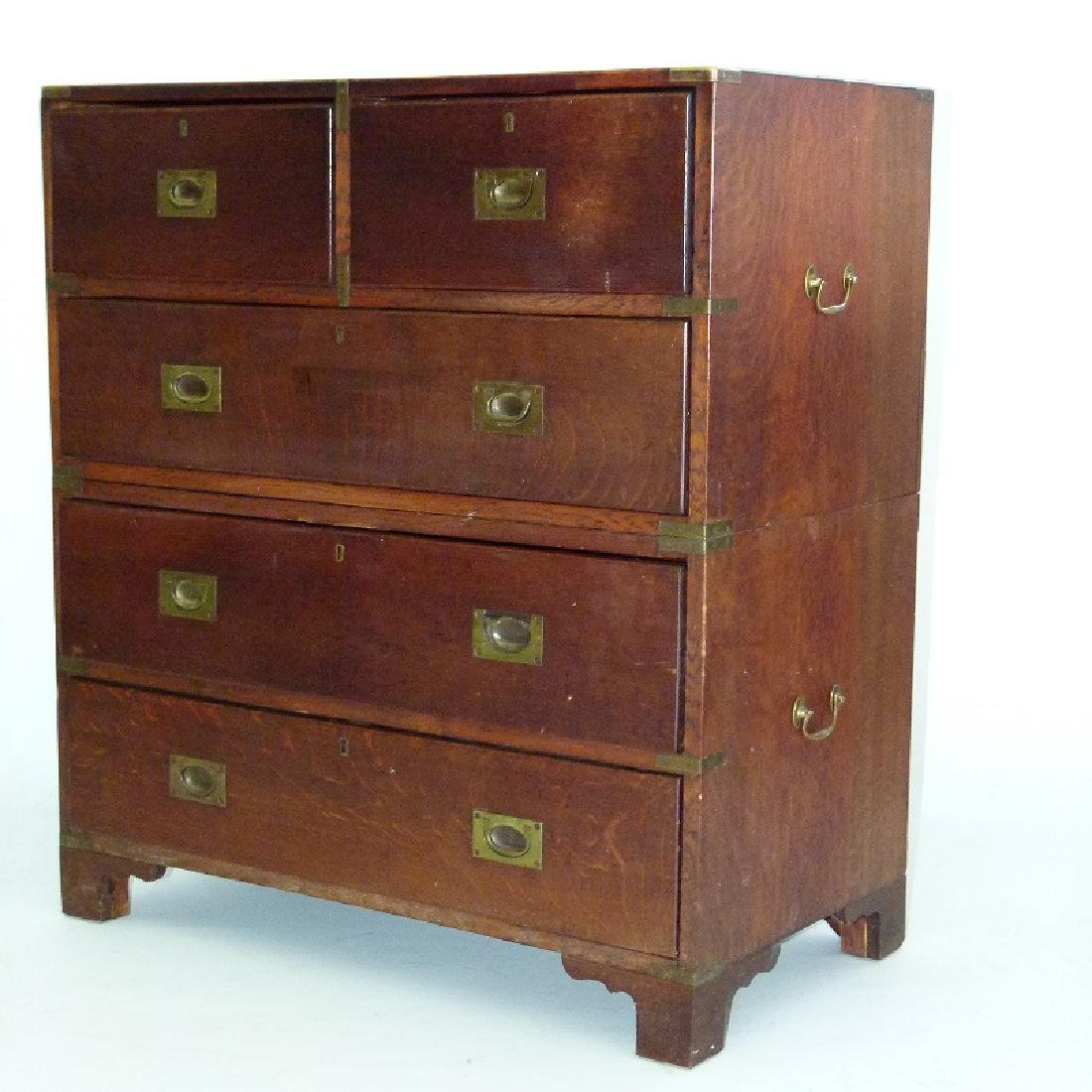 ENGLISH REGENCY OAK CAMPAIGN 2 PART CHEST OF DRAWERS