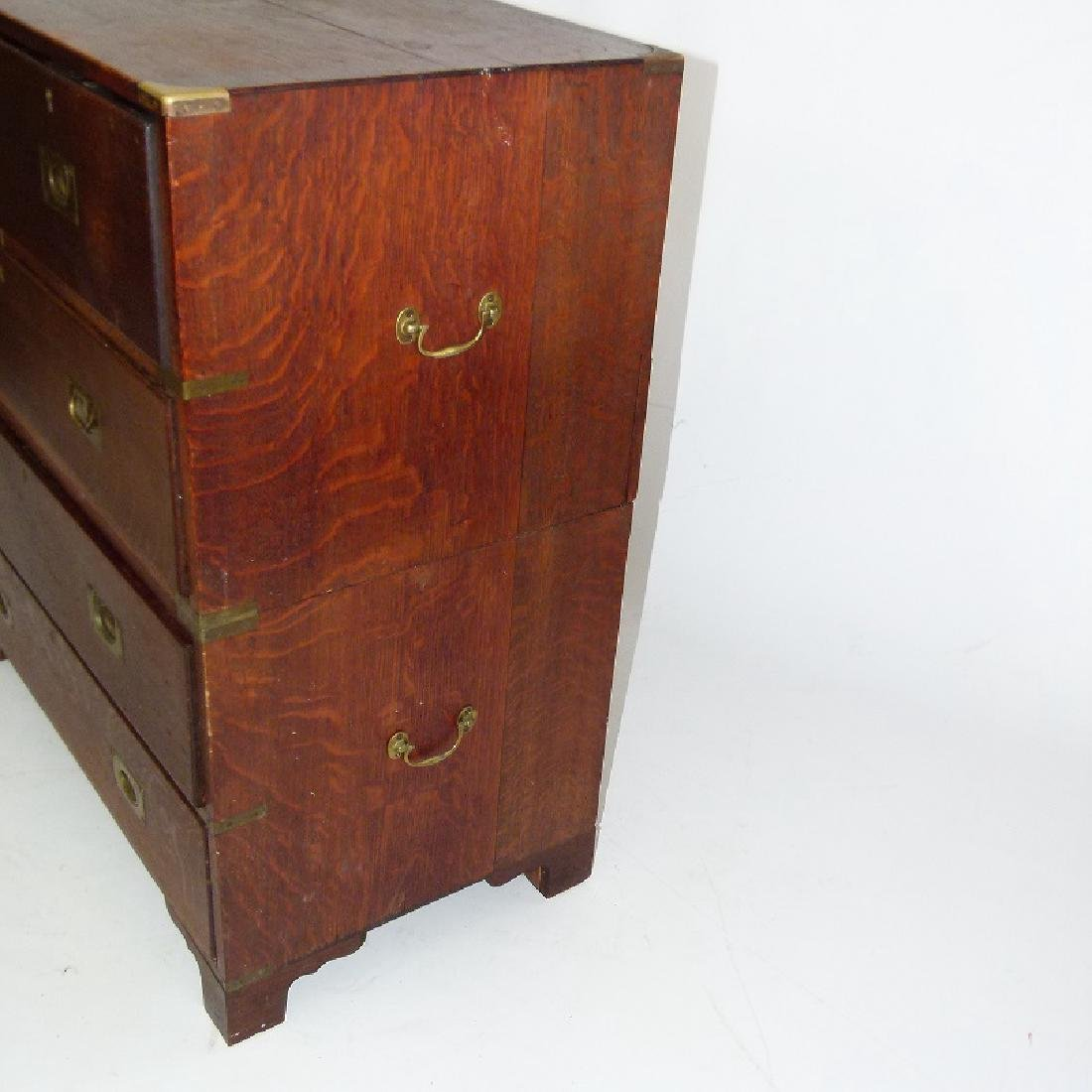 ENGLISH REGENCY OAK CAMPAIGN 2 PART CHEST OF DRAWERS - 2