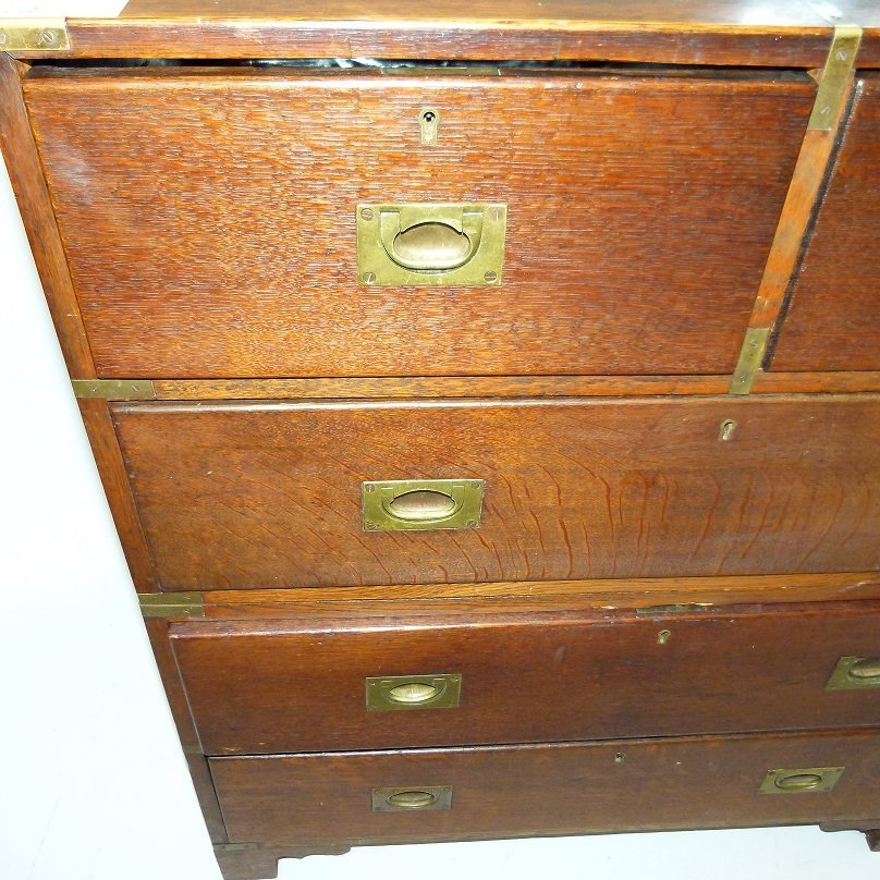 ENGLISH REGENCY OAK CAMPAIGN 2 PART CHEST OF DRAWERS - 6