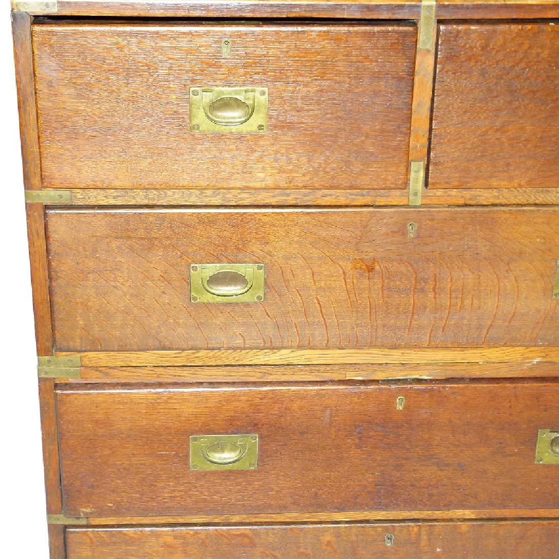 ENGLISH REGENCY OAK CAMPAIGN 2 PART CHEST OF DRAWERS - 7