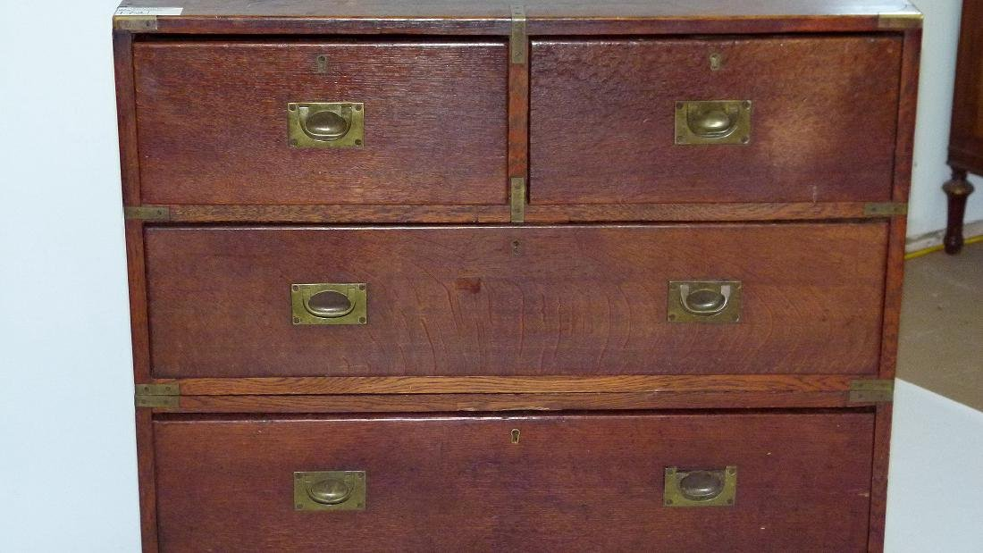 ENGLISH REGENCY OAK CAMPAIGN 2 PART CHEST OF DRAWERS - 9