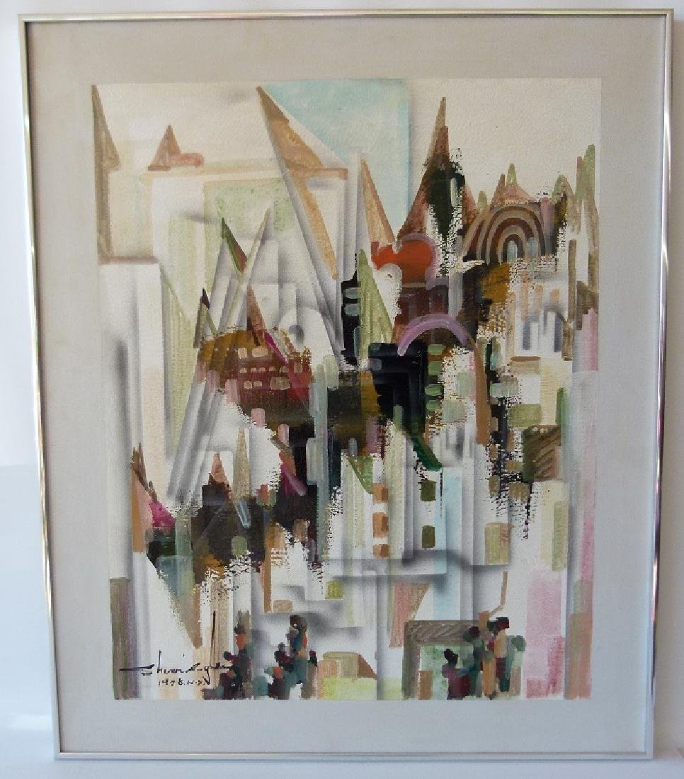 O/C ART MODERN ABSTRACT SIGNED ILLEDG., 1978 NY
