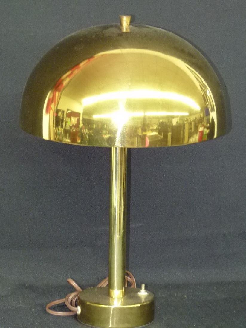 MID CENTURY MODERN BRASS MUSHROOM TABLE LAMP, C. 1960
