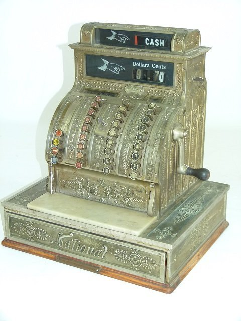 NATIONAL NICKEL PLATED BRASS CASH REGISTER, MOD #420