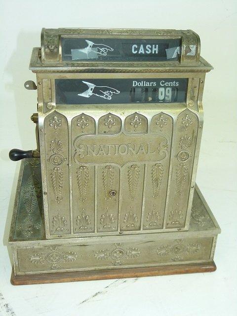 NATIONAL NICKEL PLATED BRASS CASH REGISTER, MOD #420 - 4