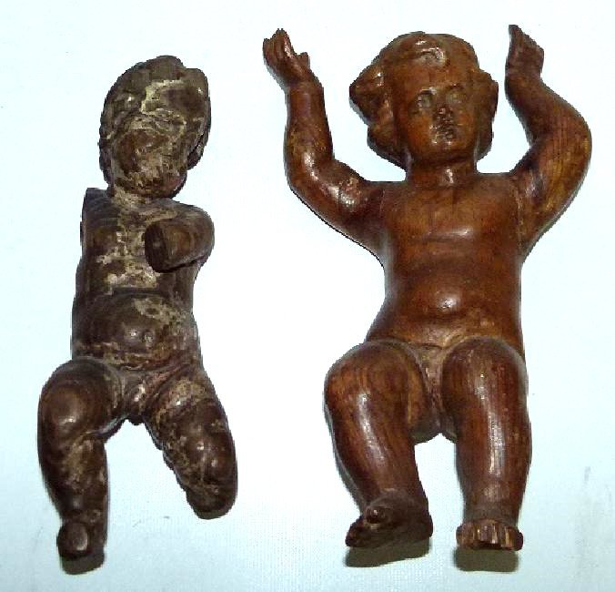 LOT (2) SPANISH COLONIAL SANTOS FIGURES 17/18TH C.