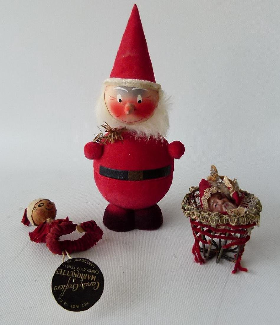 LOT (3) VINTAGE CHRISTMAS ORNAMENTS/CANDY CONTAINER
