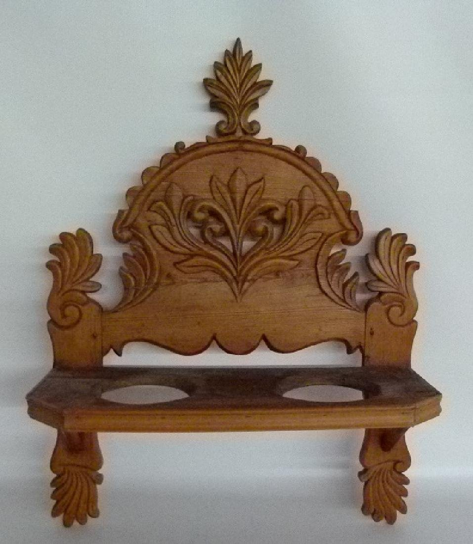 SPANISH COLONIAL CARVED PINE SHELF 18/19TH C.