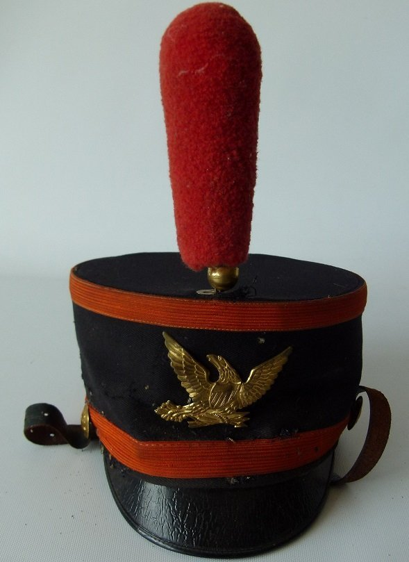 EARLY MILITARY MARCHING BAND SHAKO W/ PLUME, 19TH C.