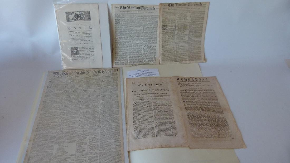 LOT (6) ASSORTED EARLY NEWSPAPERS/PAMPHLETS 1709-1782