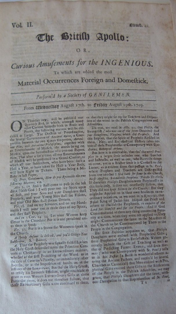 LOT (6) ASSORTED EARLY NEWSPAPERS/PAMPHLETS 1709-1782 - 3