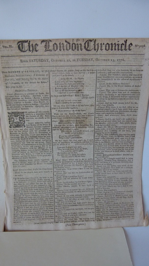 LOT (6) ASSORTED EARLY NEWSPAPERS/PAMPHLETS 1709-1782 - 5