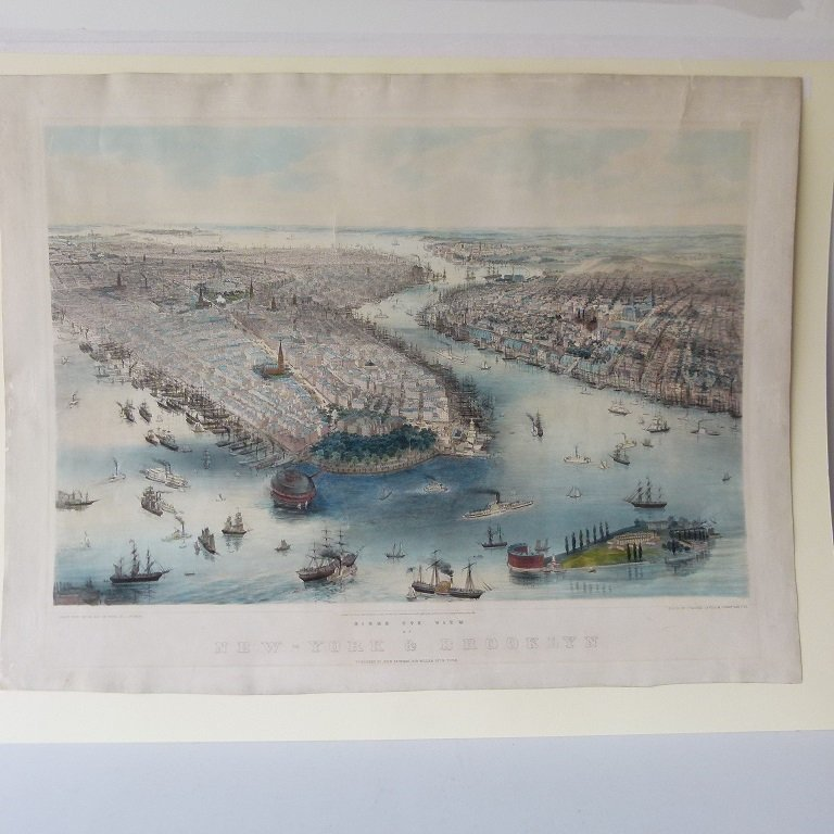 "LITHOGRAPH FROM STONE ""BIRDS EYE VIEW OF NEW YORK &"
