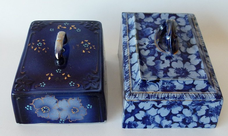 LOT (2) ASSORTED FLOW BLUE IRONSTONE CHEESE DOME COVERS