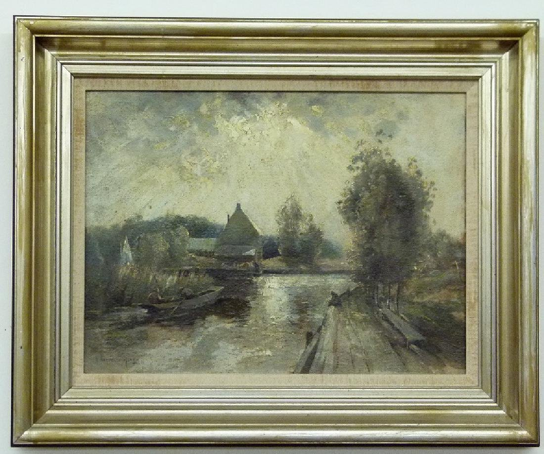 O/P FRENCH SCHOOL, POND/PUNT BOAT SIGNED ILLEG.