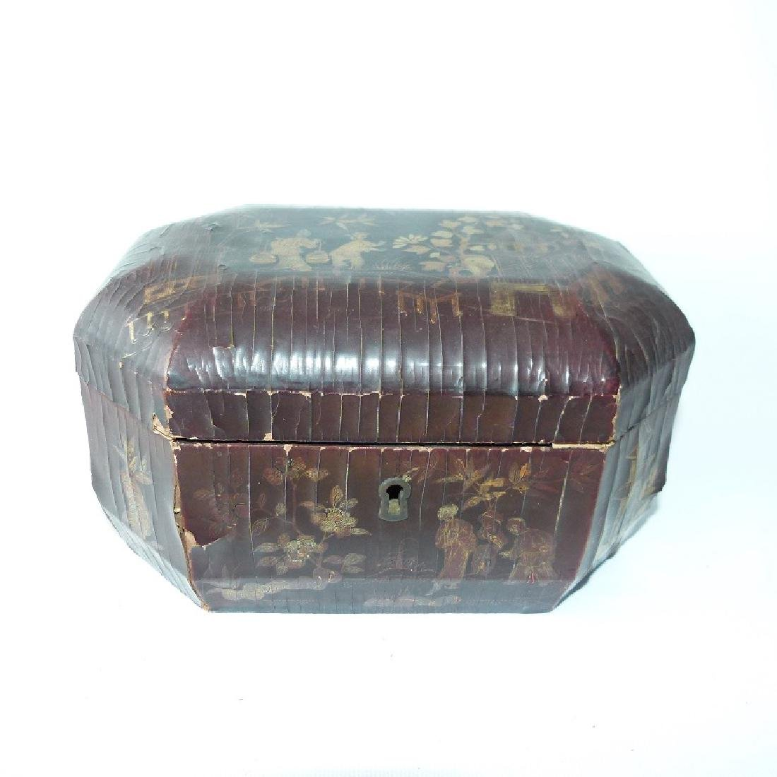 JAPANESE CHINOISERIE LACQUERED/PEWTER TEA CADDY 19TH C.