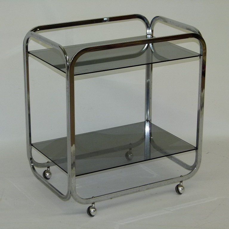 ART MODERN CHROME/GLASS TEA CART, 20TH C.