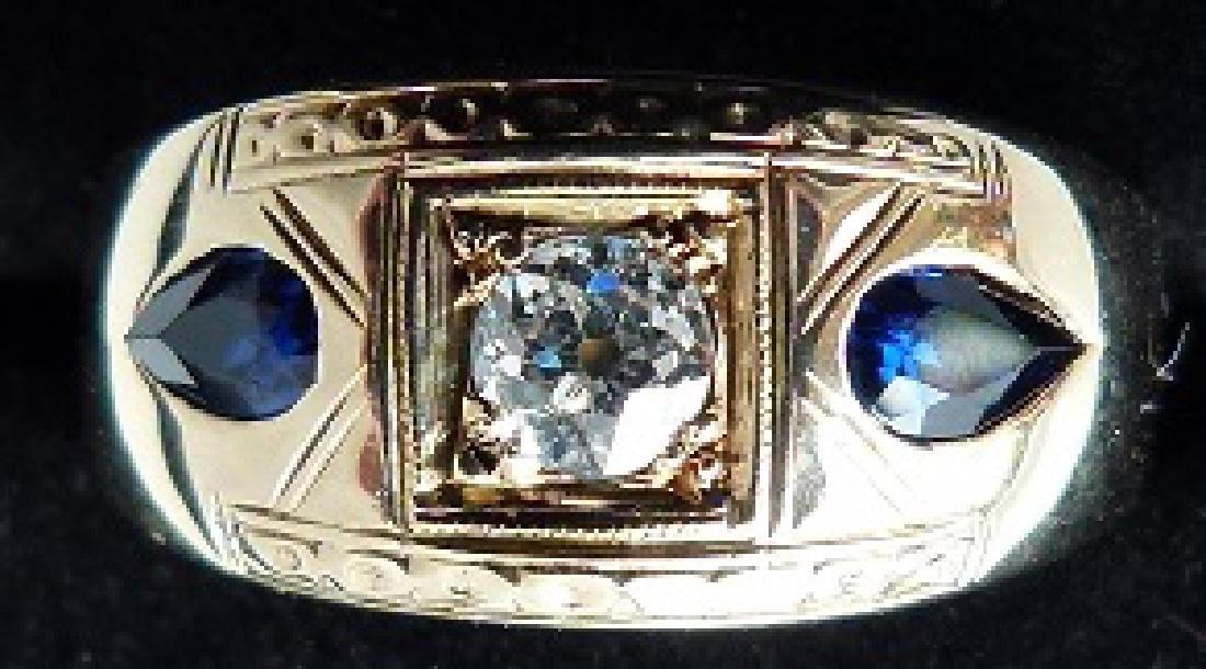 ART DECO 14KT YELLOW GOLD/DIAMOND/SAPPHIRES MENS RING - 2