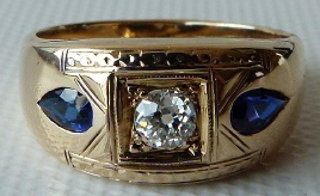 ART DECO 14KT YELLOW GOLD/DIAMOND/SAPPHIRES MENS RING - 3