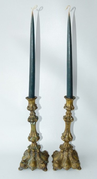 PAIR REPOSSE BRASS CANDLE STICKS, 19TH C.