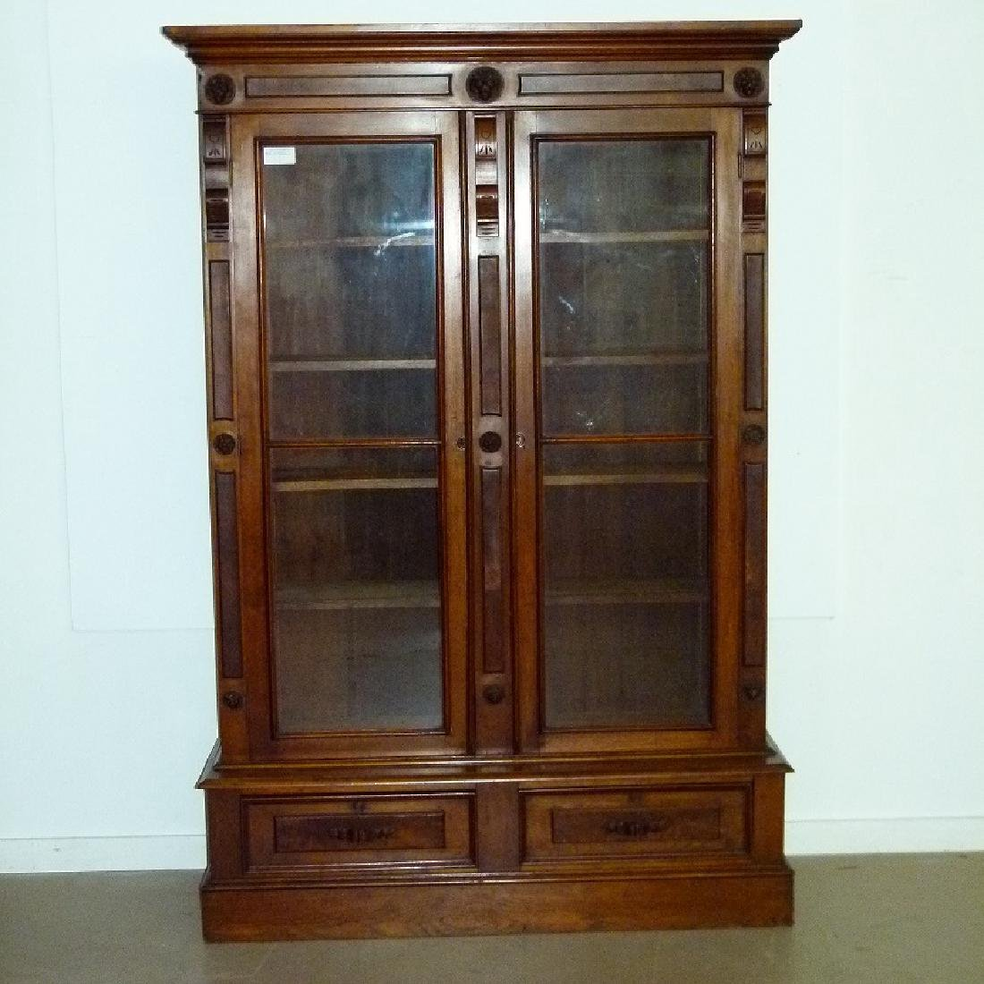 VICTORIAN WALNUT DOUBLE DOOR BOOKCASE, C. 1870