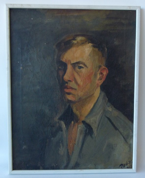 O/C PORTRAIT OF A MAN SIGNED DODGE C. 1957