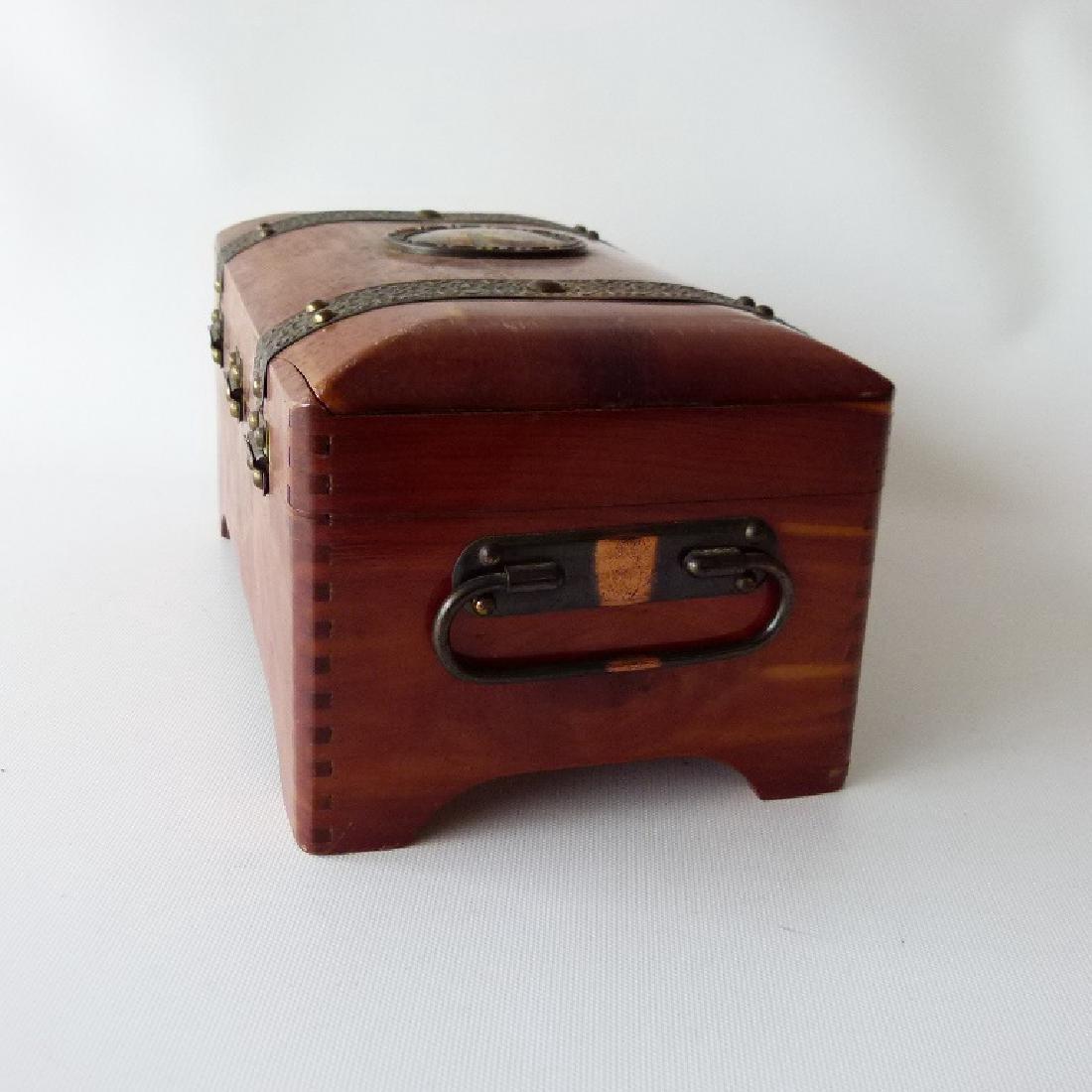 CEDAR JEWELRY BOX W/ASSORT. CONTENTS INCL. POCKET - 9