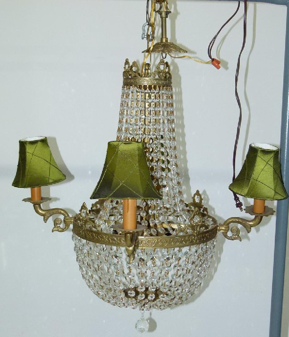 FRENCH BRONZE/CRYSTAL HANGING CHANDELIER C. 1920