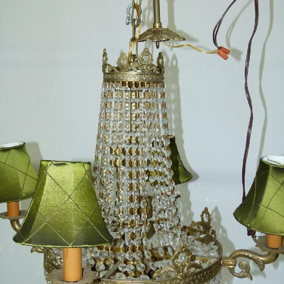 FRENCH BRONZE/CRYSTAL HANGING CHANDELIER C. 1920 - 2