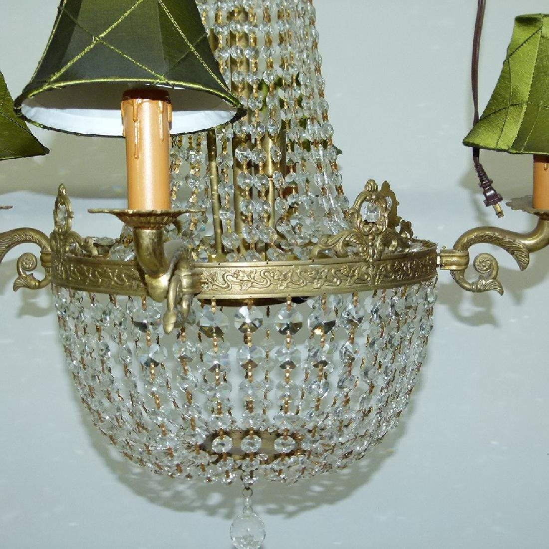 FRENCH BRONZE/CRYSTAL HANGING CHANDELIER C. 1920 - 3