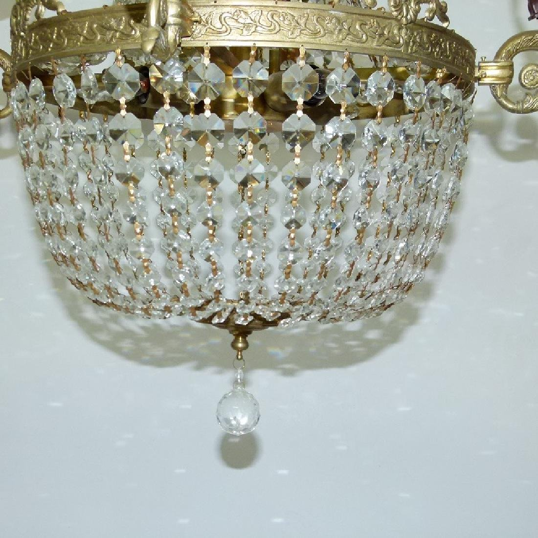 FRENCH BRONZE/CRYSTAL HANGING CHANDELIER C. 1920 - 4