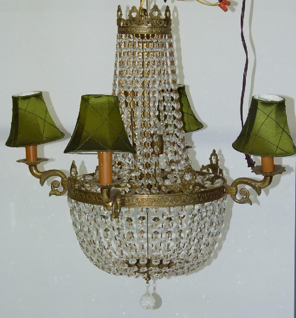 FRENCH BRONZE/CRYSTAL HANGING CHANDELIER C. 1920 - 5