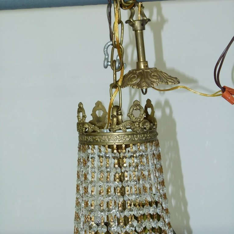 FRENCH BRONZE/CRYSTAL HANGING CHANDELIER C. 1920 - 6