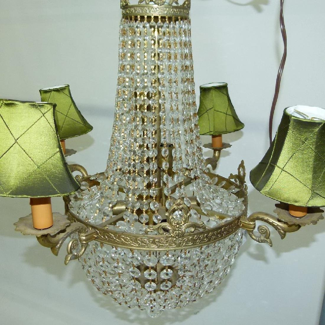 FRENCH BRONZE/CRYSTAL HANGING CHANDELIER C. 1920 - 7