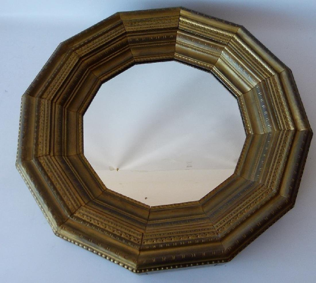 CLASSICAL STAMPED BRASS 12 SIDED MIRROR 20TH C.