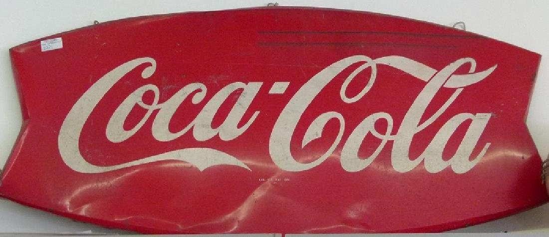 "COCA-COLA TIN ""BOW TIE"" SIGN, C. 1950"