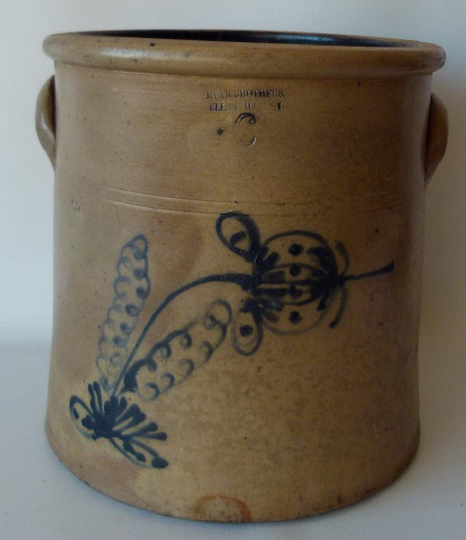 6 GAL. RYAN BROS. SALT GLAZED STONEWARE CROCK, 19TH C.
