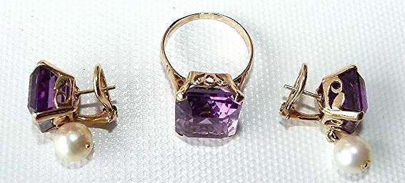 SET 14KT YELLOW GOLD/AMETHYST/PEARLS RING/EARRINGS