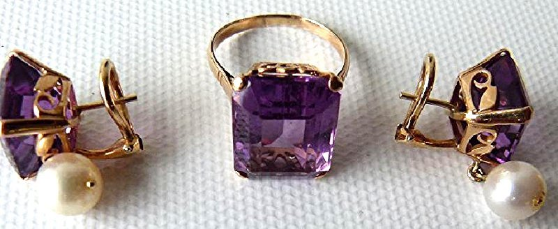SET 14KT YELLOW GOLD/AMETHYST/PEARLS RING/EARRINGS - 2