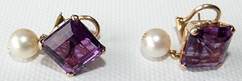 SET 14KT YELLOW GOLD/AMETHYST/PEARLS RING/EARRINGS - 4